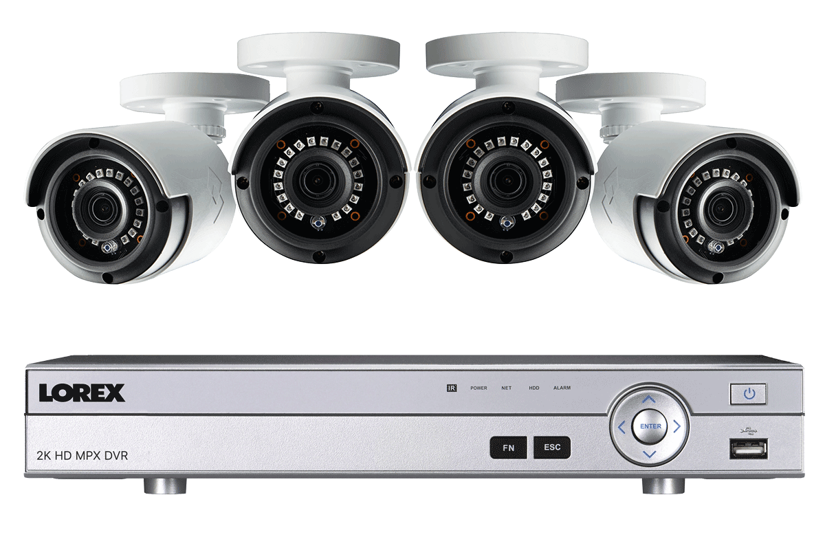 2K Super HD 4 Channel Security System with 4 Super HD 2K Outdoor Cameras, 130ft night vision(Color) $212.49