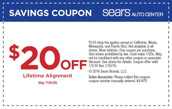 Use Sears Wheel Alignment Coupons Car experts recommend obtaining regular tire alignment services at intervals recommended by the automaker. This period of %(12).
