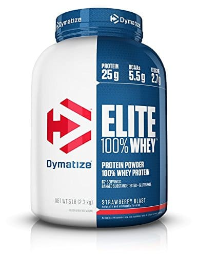 Dymatize Elite 100% Whey Protein, Strawberry Blast, 5 lbs $32.11 or less with S&S