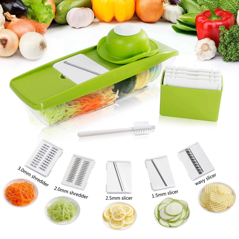 5 Blade Mandolin Straight Slicer,Vegetable Cutter, Fruit Blade, Potato Wavy Blade [Green] $9.74