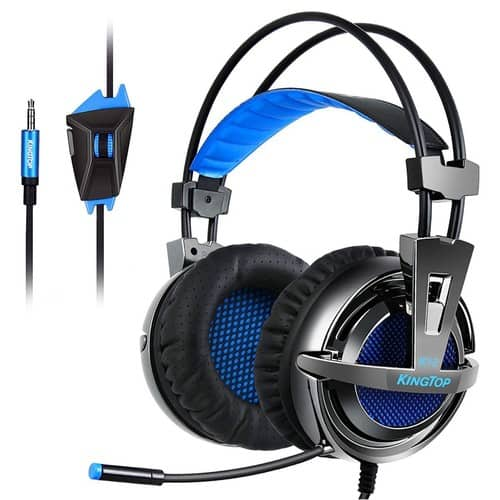 Kingtop PS4 Gaming Headset Over Ear Stereo Bass Gaming Headphone with Noise Isolation Microphone for PS4 Xbox One S PC Mobile Phones - $15.59 @ Amazon