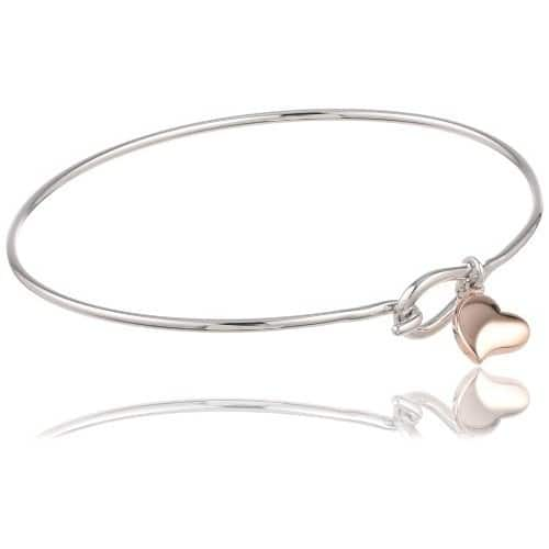 "[Add-on Item]Plated Bronze Two Tone Heart Charm Bangle Bracelet, 7.25"" $7.76"