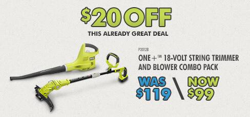 Ryobi One+ 18-Volt String Trimmer and Blower Combo Pack & lithium battery - $99 FS