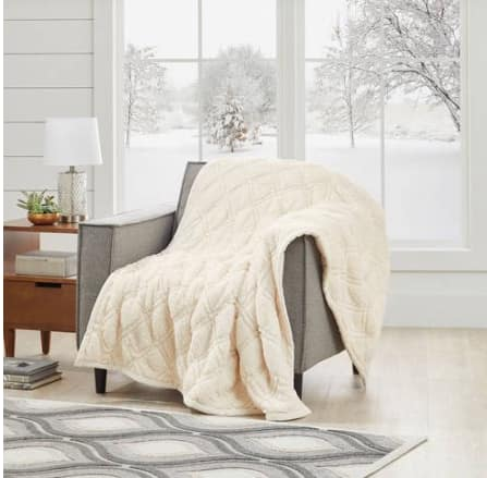 Better Homes and Gardens Quilted Sherpa Throw Blanket, Ivory $14.93@walmart.