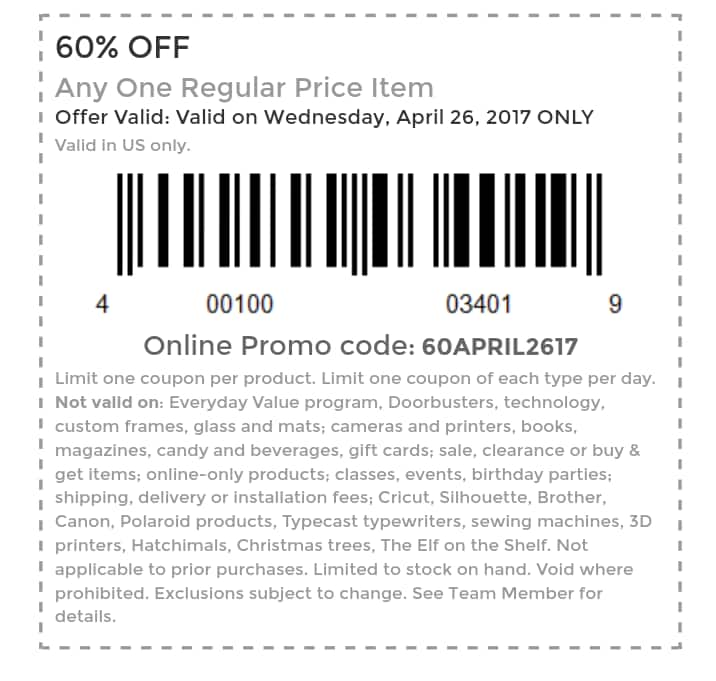 Michaels 60% off coupon in store and online