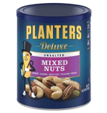 Planter's Snack Nuts, Deluxe Mixed Nuts, Unsalted, 15 Oz $4.74