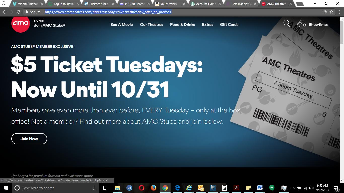 $5 AMC movie ticket Tuesdays & $5 popcorn/drink combo on Tuesdays with Stubs reward card