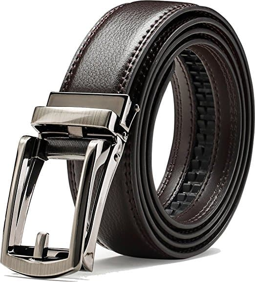 "Genuine Leather Belt For Men With Automatic Buckle - 1.25"" Wide Adjustable Notch-Free Design  $10FS"