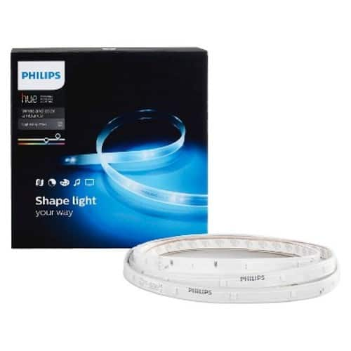 "Philips - Hue Lightstrip Plus 6'6"" Dimmable LED Smart Light - Multicolor $49.99"