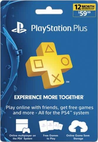 Playstation plus 12 month / 1 year subscription $49.98 PS4 & PS3