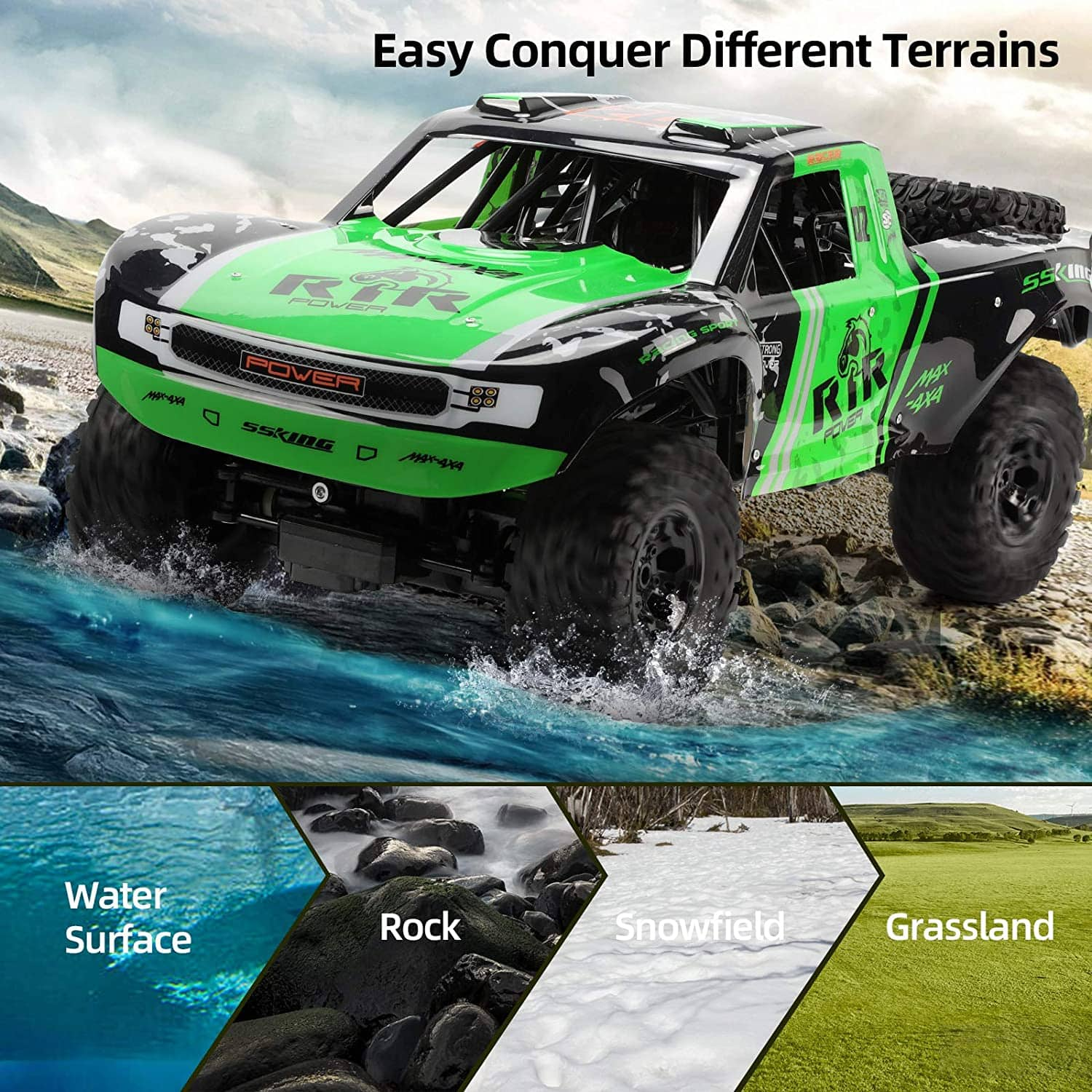 Ruko C11 Amphibious RC Cars 1:10 Scale Large Monster Truck, 2.4 GHz Waterproof Remote Control Car, 4WD Off Road Vehicle with 2 Rechargeable Batteries $100