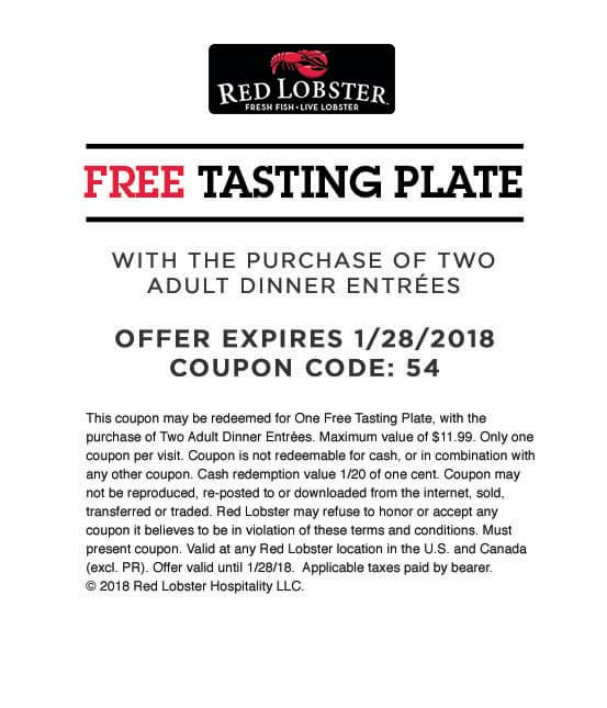 Red Lobster ~ Free Tasting Plate WYB 2 Adult Dinner Entrees