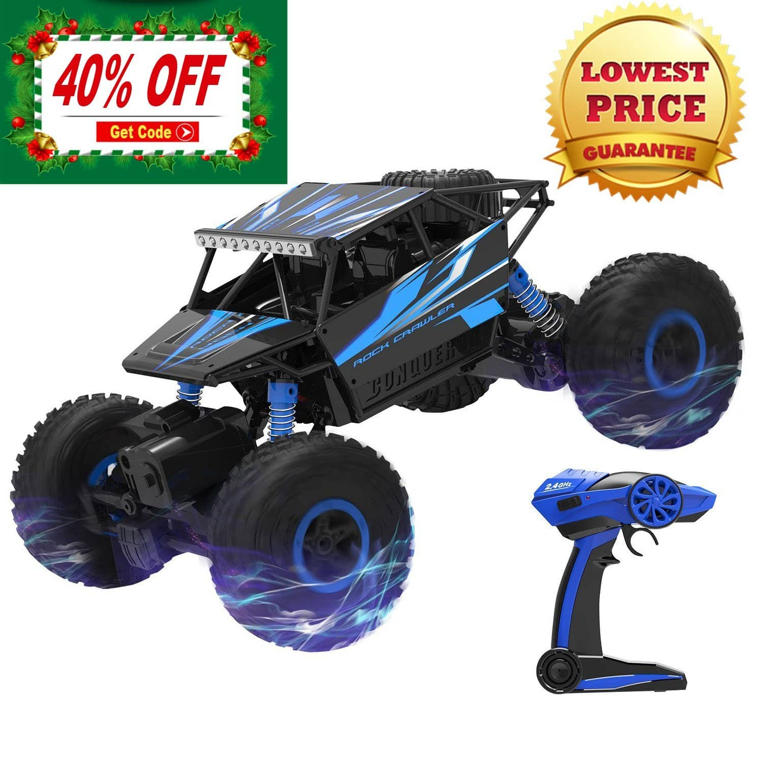50% Off - Rock Crawler Remote Control 4x4 Off-Road Christmas Gift 1:18 Scale 100M 4WD Powerful High Speed Monster Truck 20$ Today $20