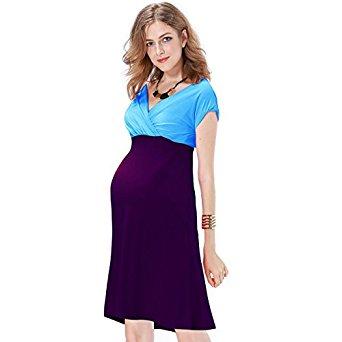 JET-BOND Maternity Deep V Neckline Wrap Jersey Dress $14.99 @Amazon
