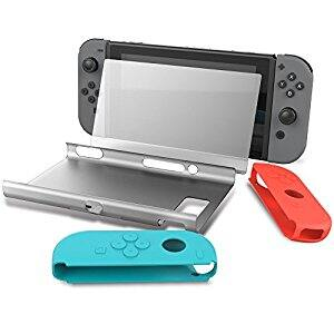 Collen Hard Back Protective Case Cover with Joy-Con Gel Guards and Tempered Glass Screen Protector for Nintendo Switch $9.09 @Amazon