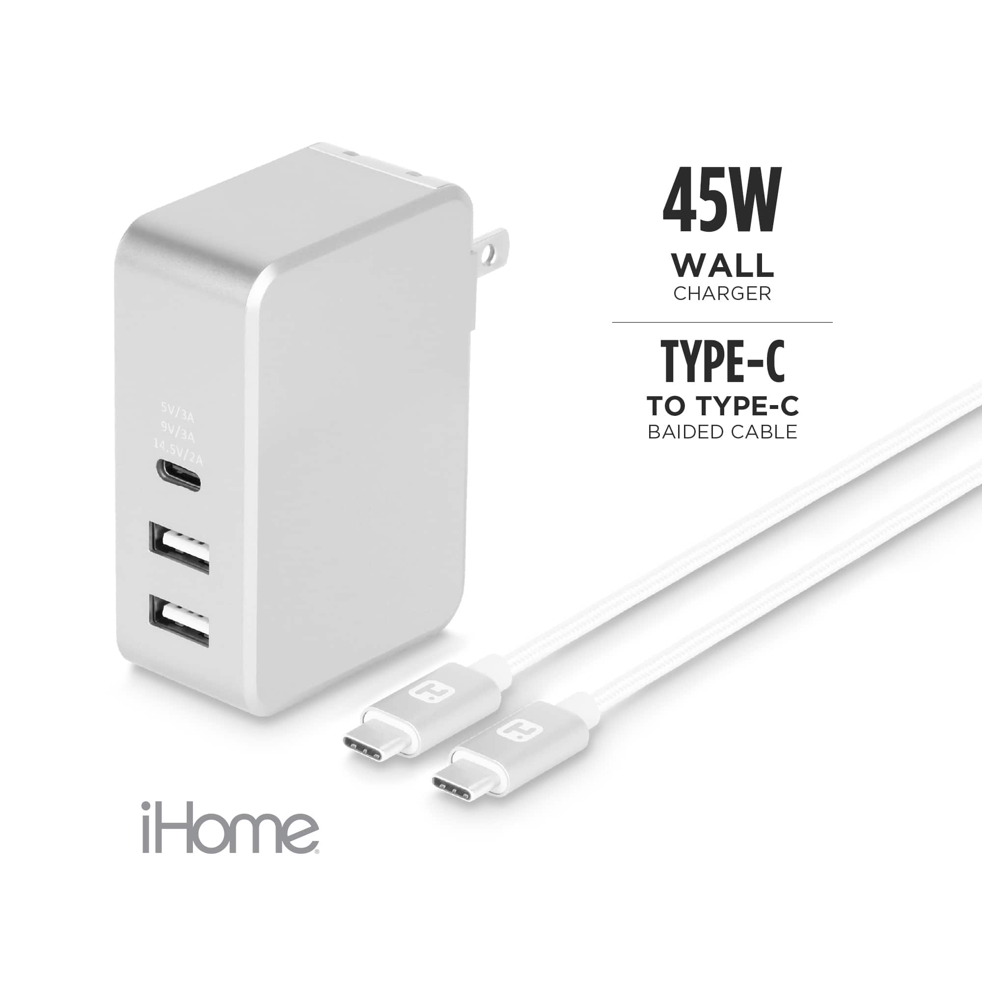 Walmart In Store YMMV iHome 45W USB-C Charger Bundle with PD, 1 USB-C, 2 USB-A ports $9