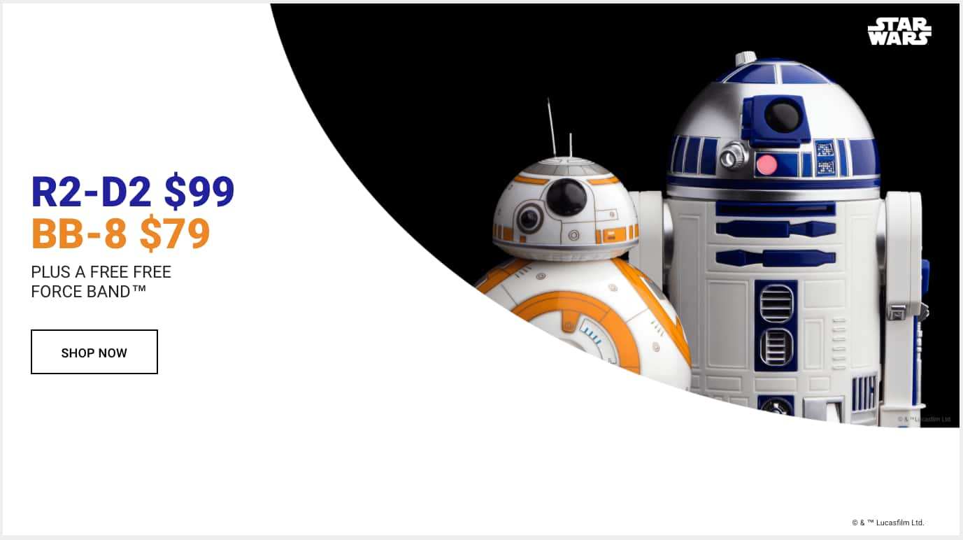 Sphero Store R2D2 for $99 and BB8 for $79 with free Force Band