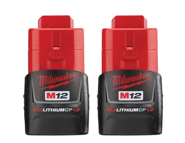 Milwaukee M12 12V 1.5 Ah Lithium-Ion Compact Battery Pack (2-Pack) - $19.97 + Free Shipping
