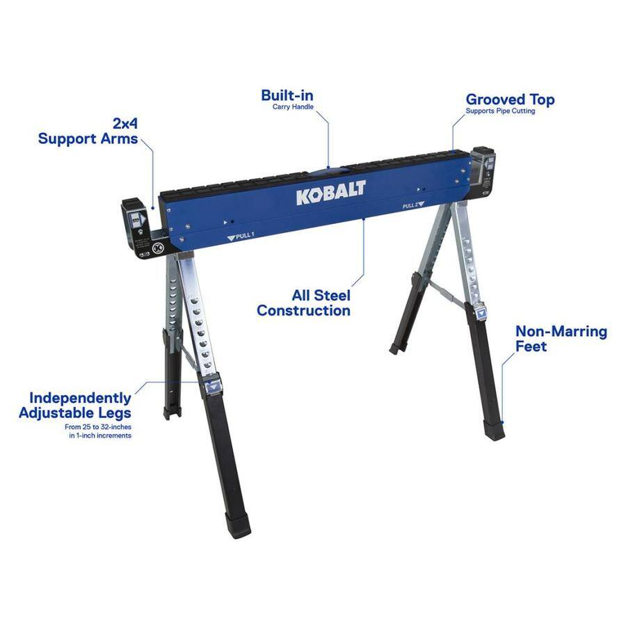 Kobalt 42-in W x 32-in H Adjustable Steel Saw Horse  (800-lb Capacity) B&M YMMV $15.99