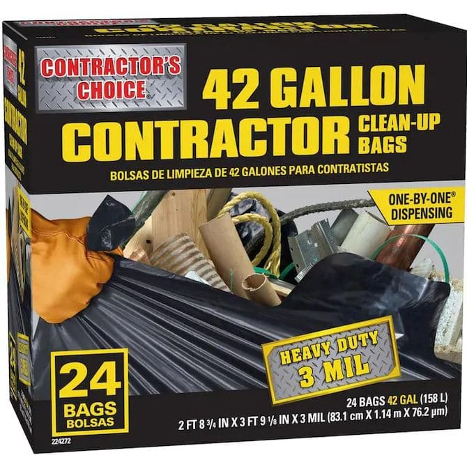 Lowe's: 24-Count Contractor's Choice 42-Gallon Outdoor Construction Trash Bags YMMV B&M $7.49