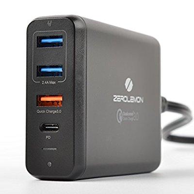 zero lemon 4 port desktop charger, Amazon deal usb-c PD 75 watt, quick charge 3.0 $29.99
