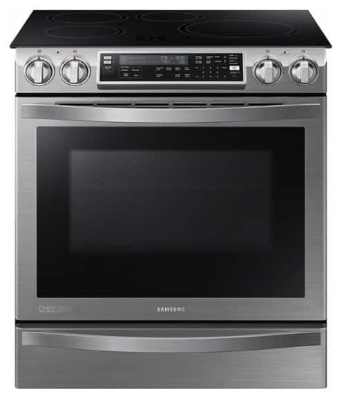Samsung - Chef Collection Flex Duo 5.8 Cu. Ft. Self-Cleaning Slide-In Electric Convection Induction Range - Stainless Steel