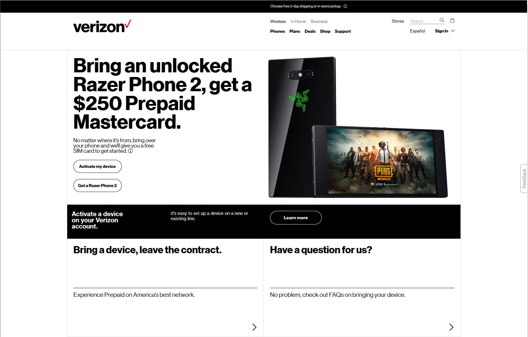 Verizon Offering $250 Pre-paid Card When Activating New Line With Razer Phone 2