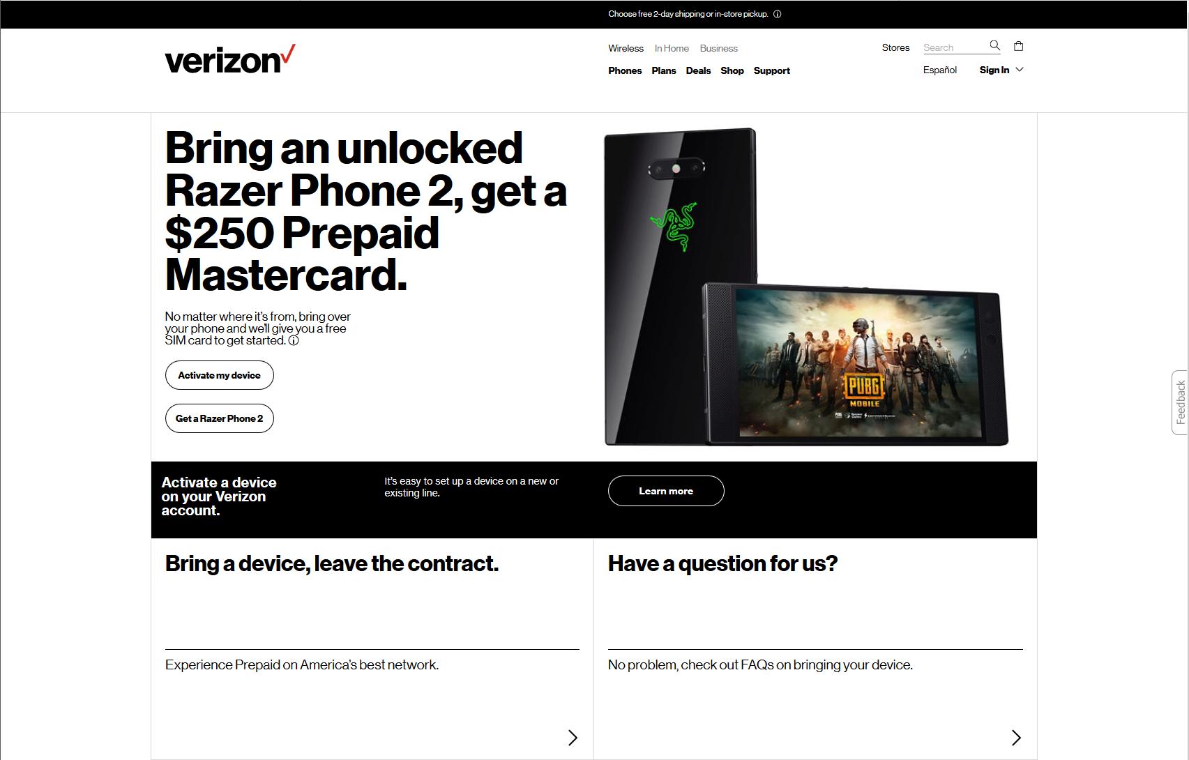 verizon prepaid activation line