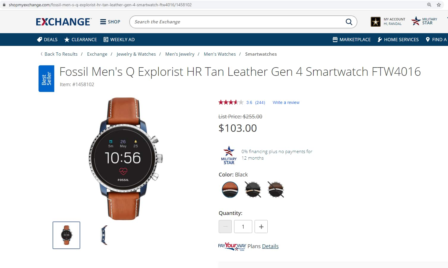 US Active Duty Military or Veteran only deal - Gen 4 Smartwatch Explorist HR Tan Leather $103.00 Free Shipping, No Taxes