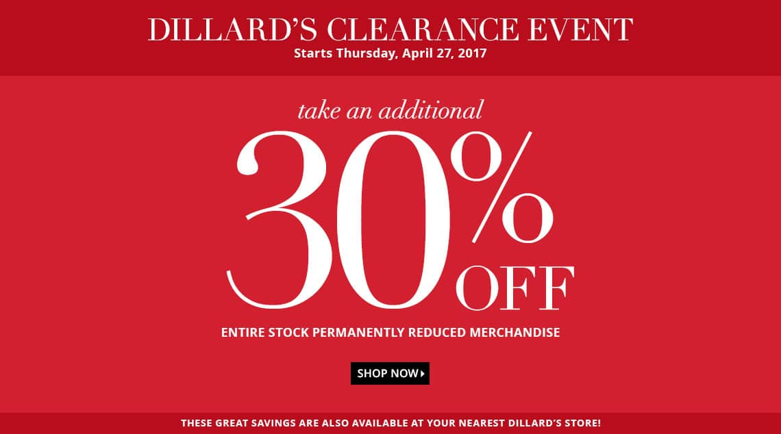 Dillard's extra 30% off on top of already reduced items at 65%
