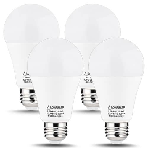 4 Pack LOHAS LED Light Bulbs 13.5W 100 Watt Equivalent Daylight (5000K) A19 1300 Lumens N0T Dimmable $13.51