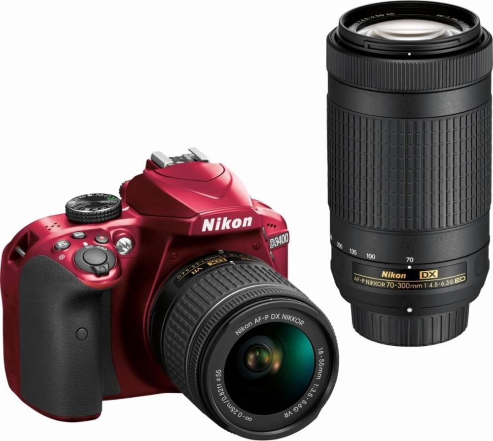 Nikon - D3400 DSLR Camera with AF-P DX 18-55mm G VR and 70-300mm G ED Lenses - Black/Red $499.99