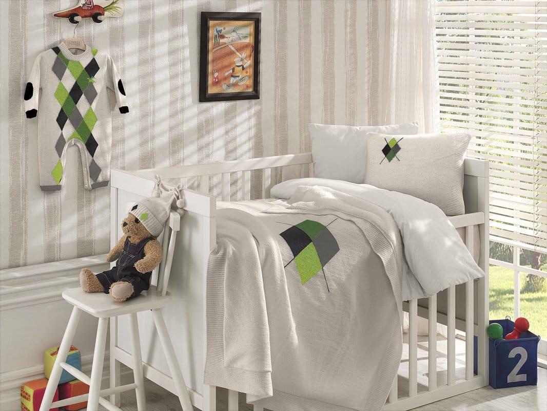 Diamond Wool Blended 6 Piece Crib Bedding Set by Nipperland