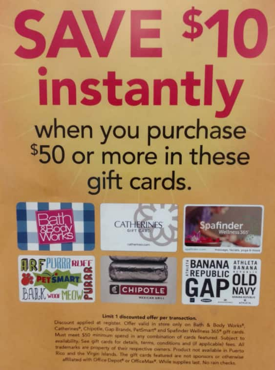 Office Depot/OfficeMax In-Store: $40 for $50 GC at Select Retailers including Chipotle, GAP Brands, Petsmart and B&B