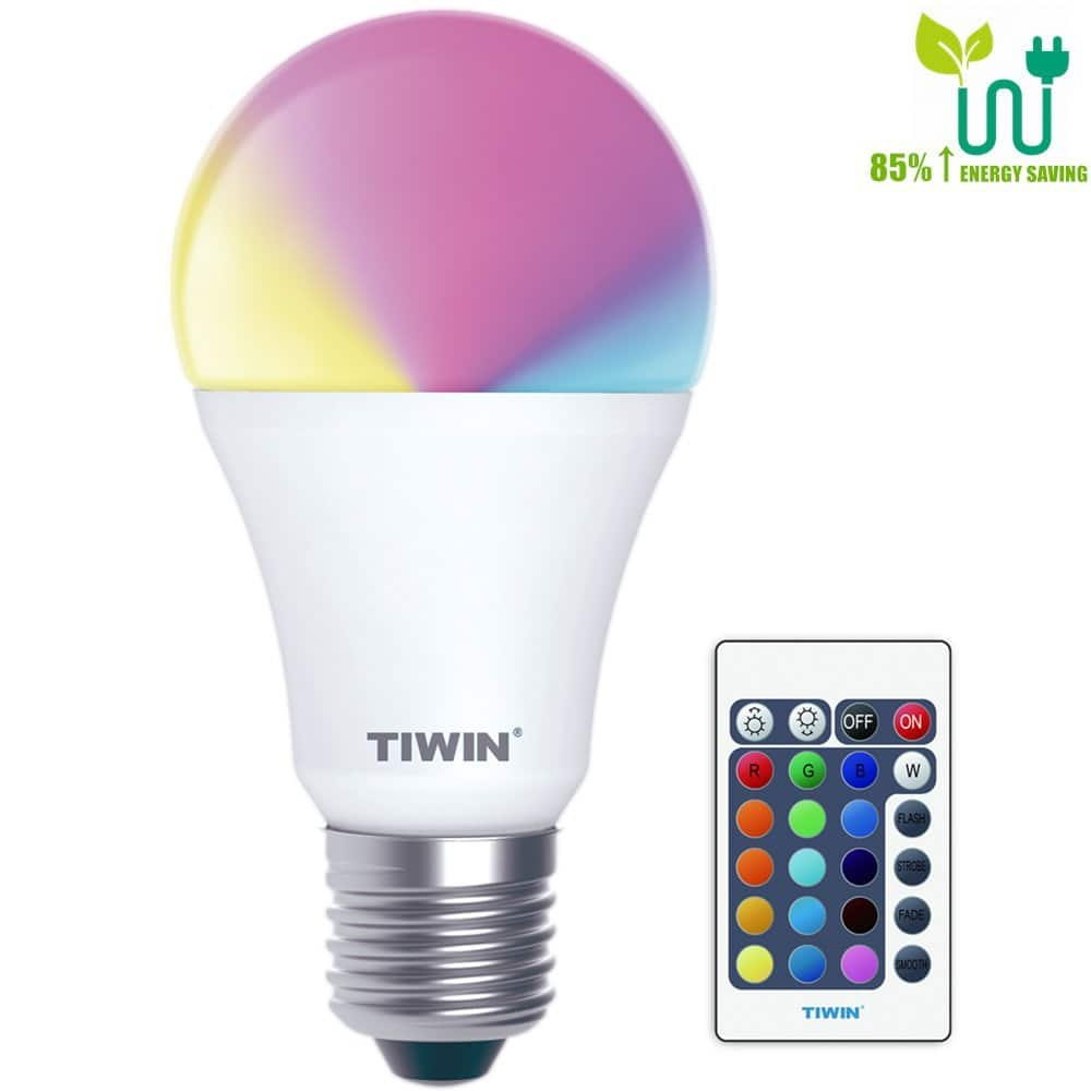 Lightning Deal TIWIN E26 RGB LED Bulbs, Memory Function, Remote Control $7.41