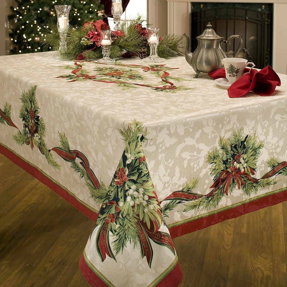 Benson Mills Christmas Ribbons Engineered Printed Fabric Tablecloth, 60-Inch-by-104 Inch [60x104], $12.99