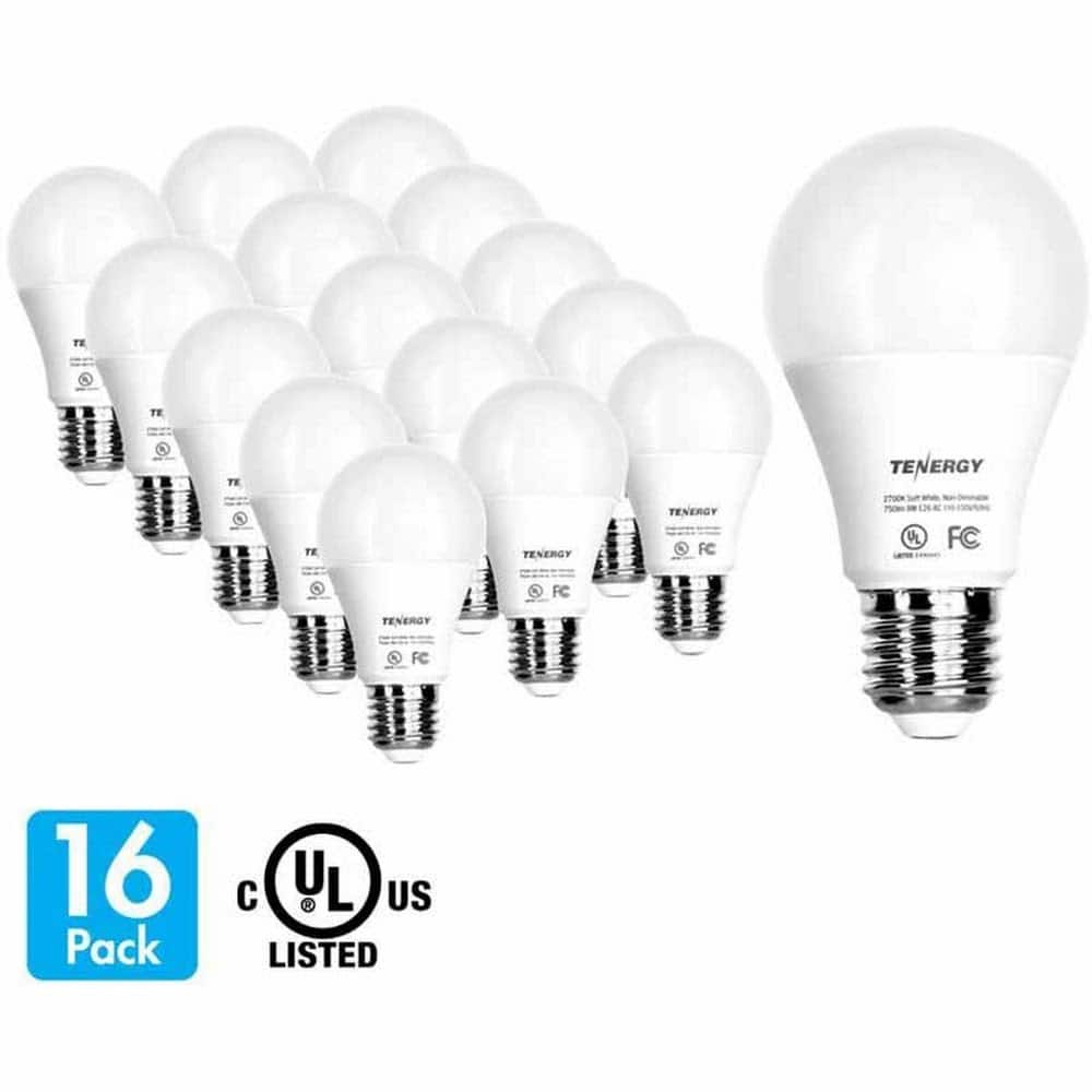 Tenergy LED Light Bulbs 9W (60 Watt Equivalent) 2700K E26 Medium Base 16 Pack - Soft White $8.98 YMMV