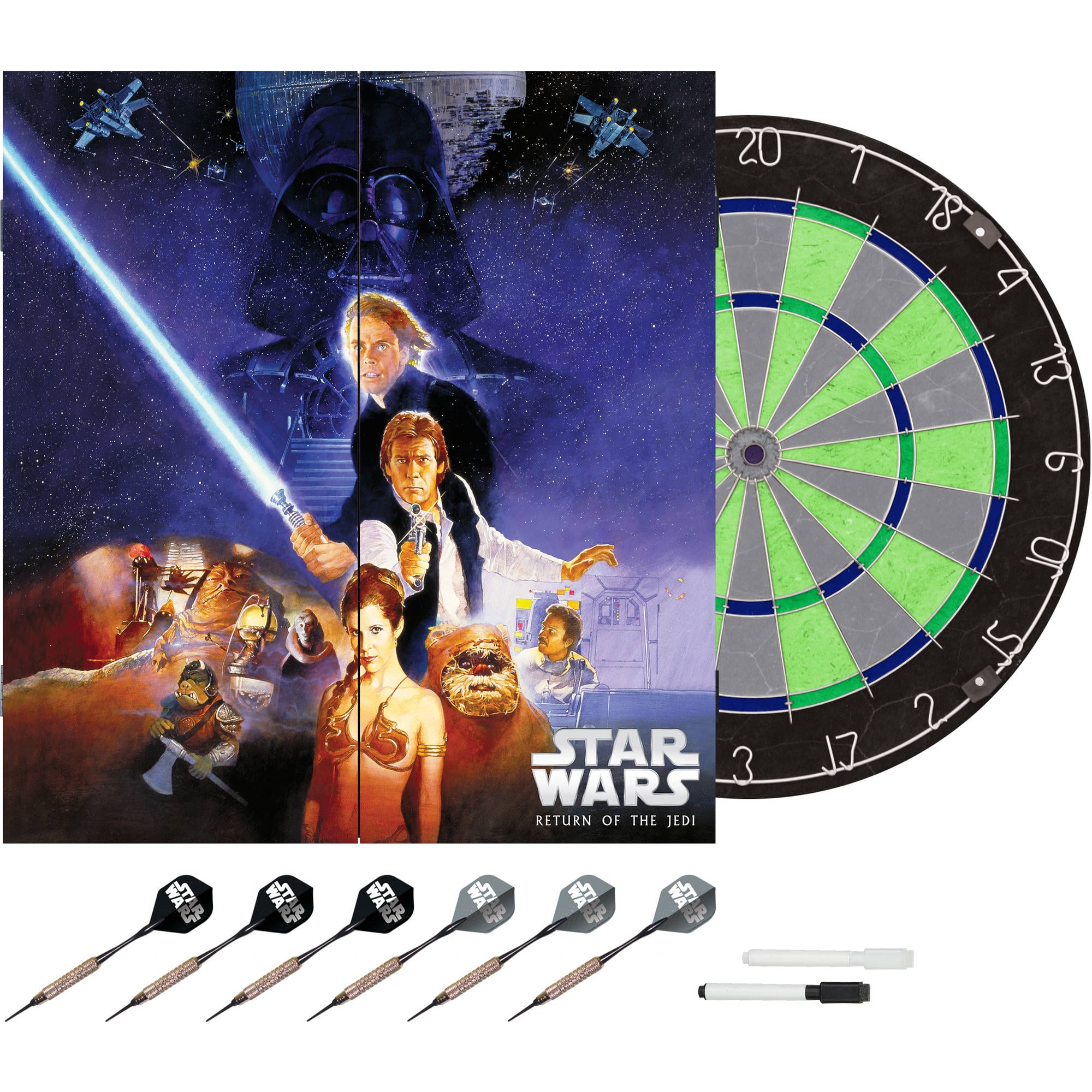 Walmart online! Star Wars paper Dartboard(s) starting at $9.00 and Bristle dart boards with cabinet starting at $21.97