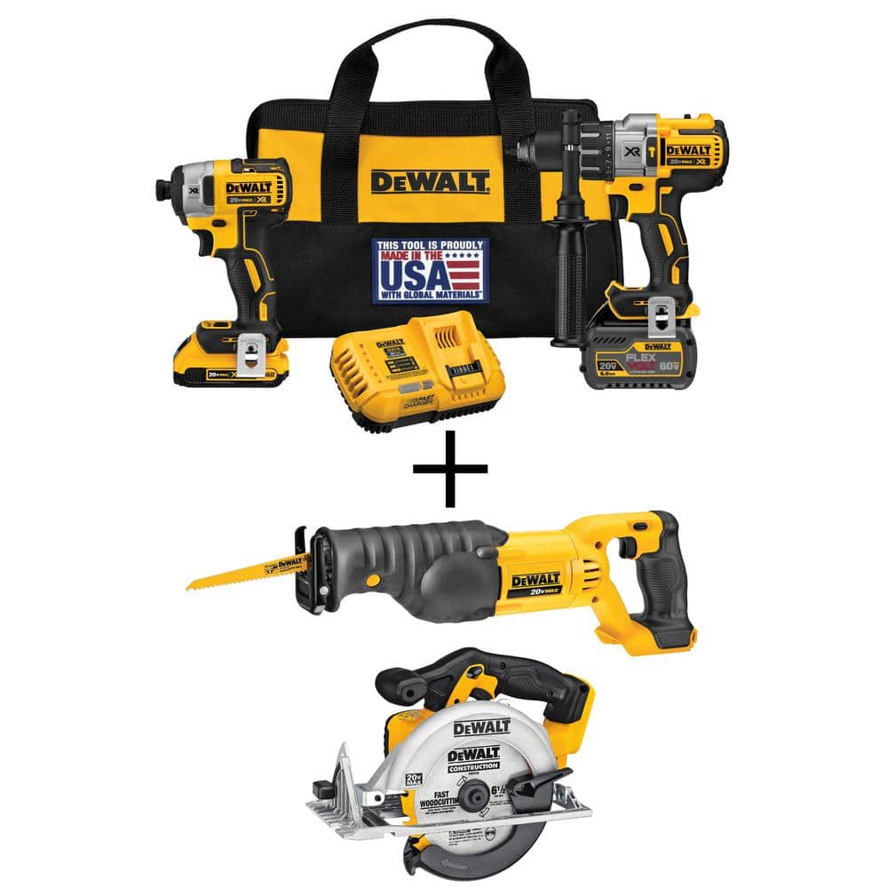 Home Depot - FLEXVOLT 60-Volt and 20-Volt MAX Lithium-Ion Cordless Brushless Combo Kit (2-Tool) with Bonus Circular and Recip Saws $379