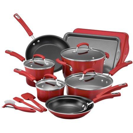 Walmart   Rachael Ray 16 Piece Hard Enamel Nonstick Cookware Set, Red ($55