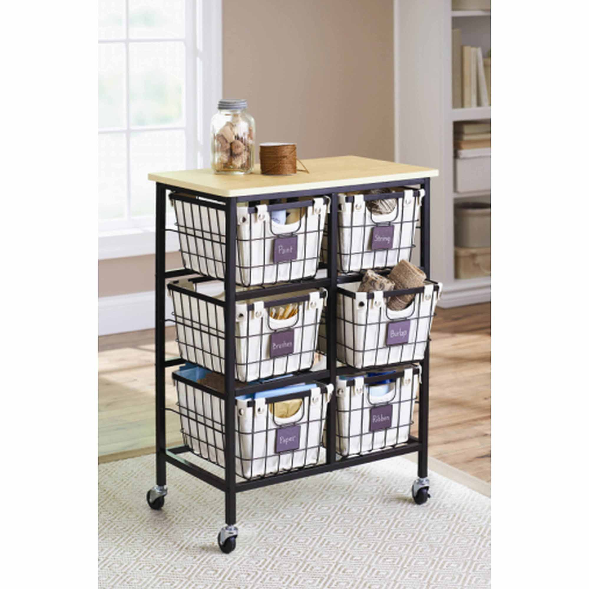 Better Homes and Gardens 6-Drawer Wire Cart, Black $54.97