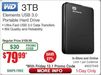 WD Elements 3TB USB 3.0 Portable Hard Drive $79