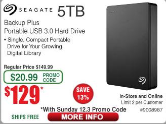 Seagate Backup Plus 5TB External Portable Hard Drive USB 3.0 $129