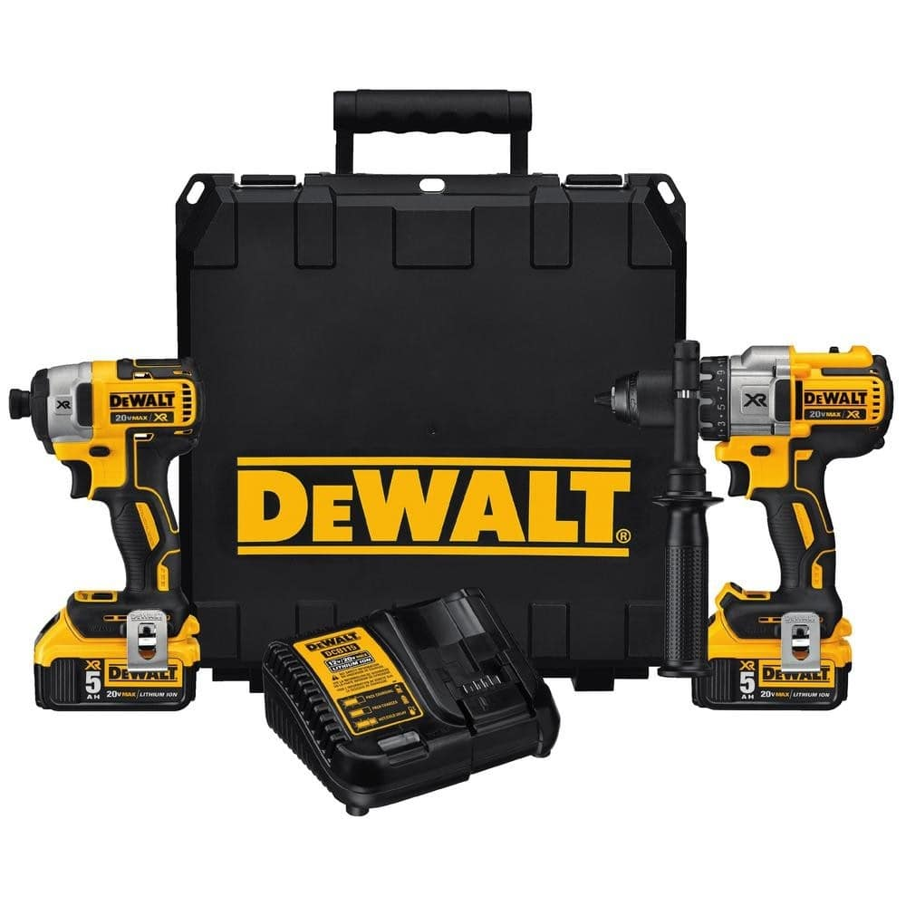DEWALT DCK299P2 20V Kit (brushless XR impact and XR Hammer Drill, 2 5ah batteries, charger and case) - $299