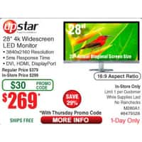"Frys Deal: M280A1 UpStar 28"" 4k Widescreen LED Monitor $269 with Promo Code @ Fry's"