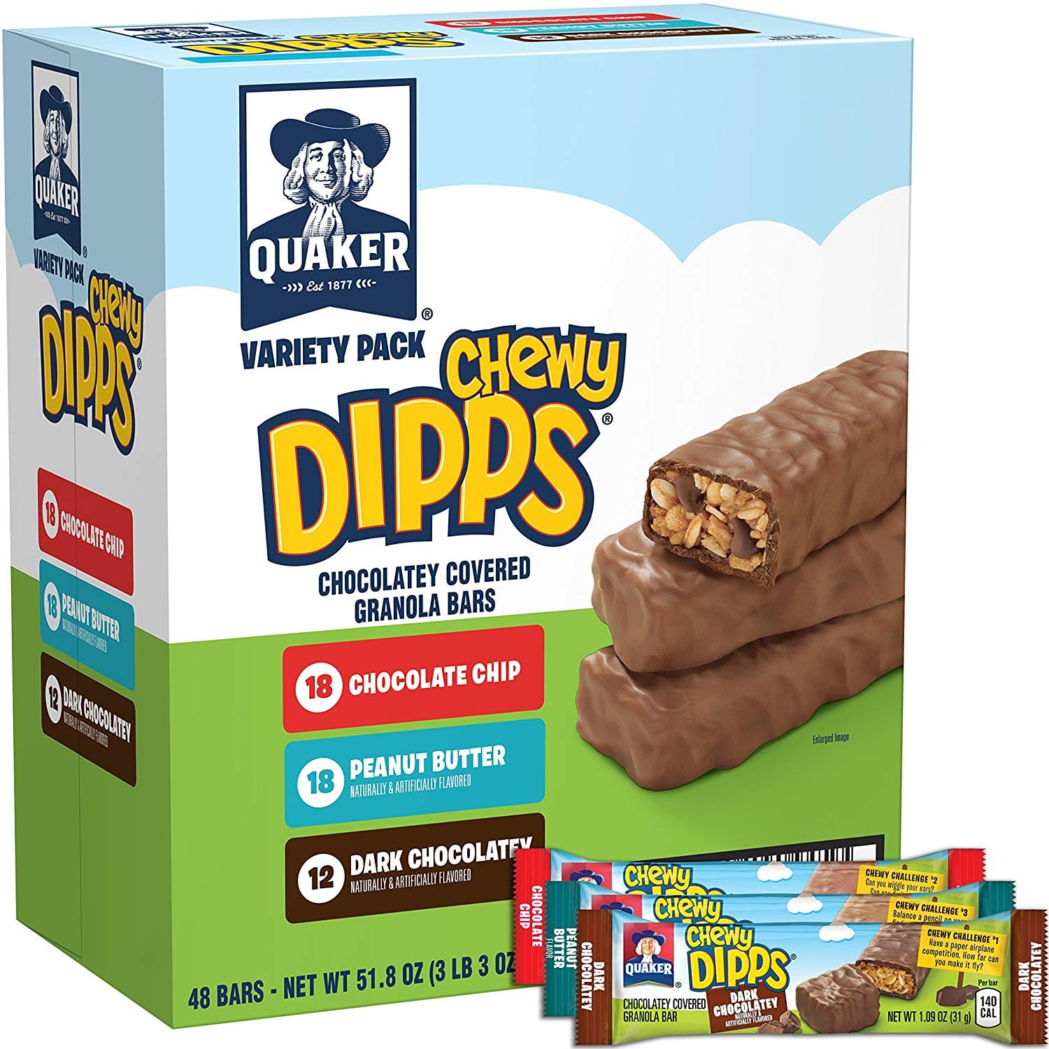 Quaker Chewy Dipps Variety Pack, 48 Count for $8.39 or lower at amazon.com
