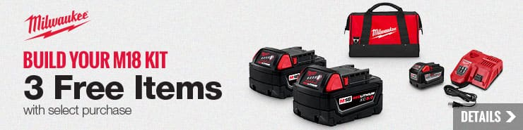 Milwaukee - Buy two M18 bare tools, get free 9.0A battery/charger, two 5.0 batteries and bag