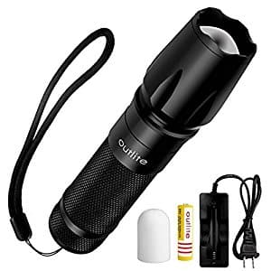 Tactical Flashlight with Rechargeable Battery and Charger for $7.99 AC