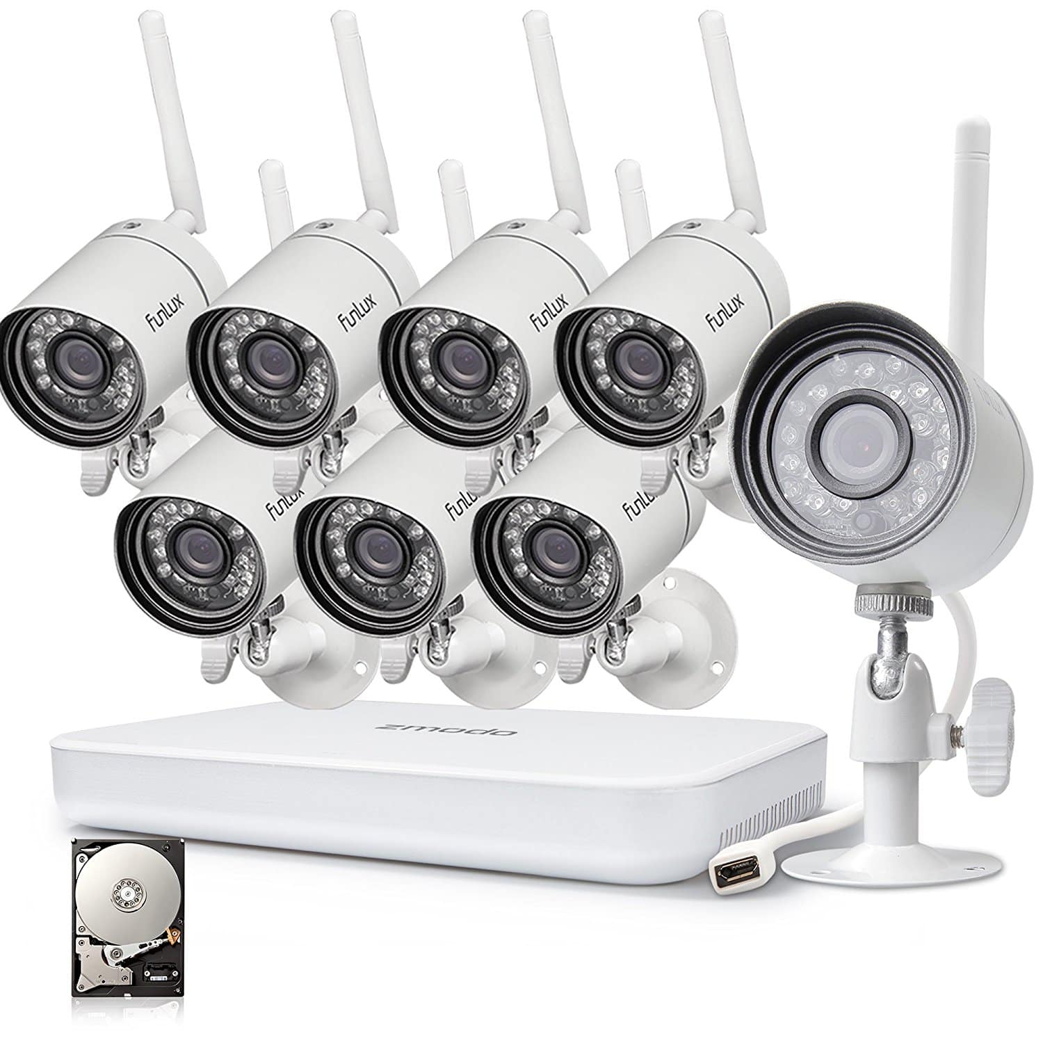 8Pk 720p HD Indoor/Outdoor Wireless Security Camera w/ 8 Channel 1080p HDMI NVR and 1TB Hard Drive $212.39