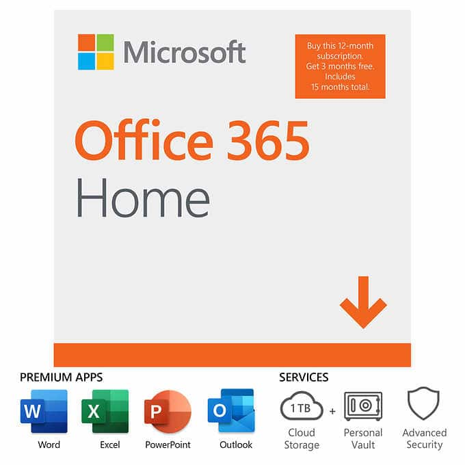 Costco Member Deal ONLY: Microsoft Office 365 Home 15-Month Subscription (E-Delivery) $89.99